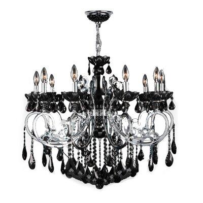 Kronos 10-Light Crystal Chandelier Crystal Color: Black