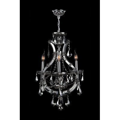Lyre 4-Light Crystal Chandelier Crystal Color: Smoke