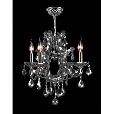 Lyre 4-Light Crystal Chandelier Crystal Color: Chrome