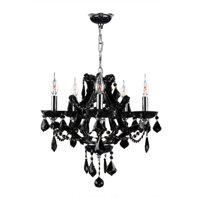 Lyre 5-Light Crystal Chandelier Crystal Color: Black