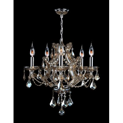 Lyre 5-Light Crystal Chandelier Crystal Color: Golden Teak