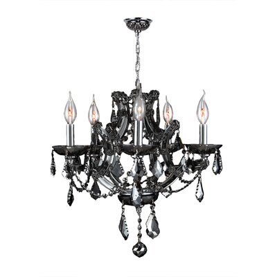 Zhora 5-Light Crystal Chandelier Crystal Color: Smoke