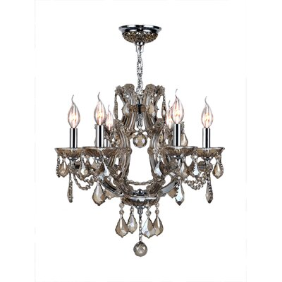 Lyre 6-Light Crystal Chandelier Crystal Color: Golden Teak
