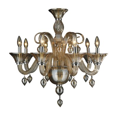 Murano 8-Light Candle-Style Chandelier Crystal Color: Amber