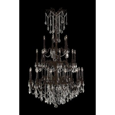 Radtke 25-Light Crystal Chandelier Finish: Flemish Brass, Crystal Color: Clear