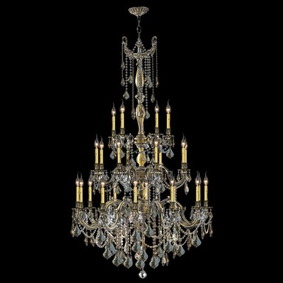 Windsor 25-Light Crystal Chandelier Finish: Antique Bronze, Crystal Color: Golden Teak