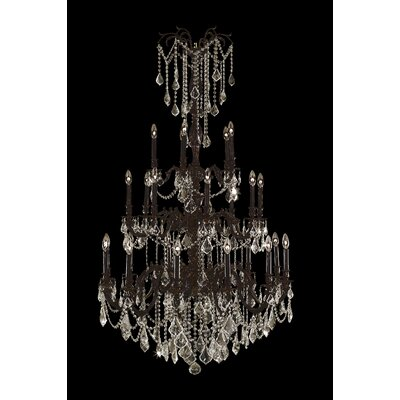 Windsor 25-Light Crystal Chandelier Crystal Color: Golden Teak, Finish: Flemish Brass