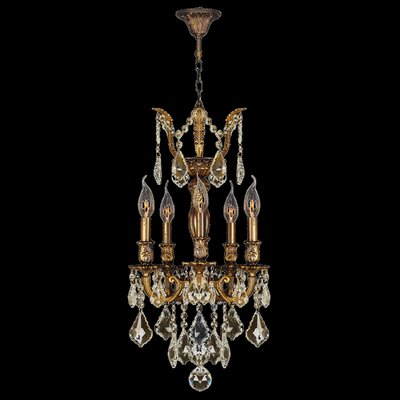 Versailles 5-Light Crystal Chandelier Finish: Antique Bronze