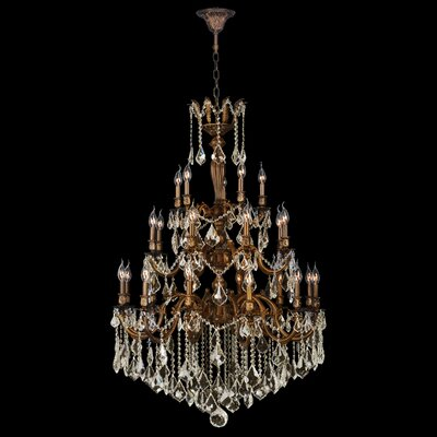 Dodson 25-Light Hardwired Crystal Chandelier Crystal Color: Golden Teak