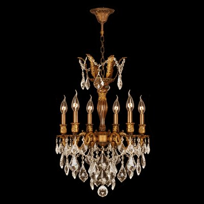 Versailles 6-Light Crystal Chandelier Crystal Color: Golden Teak