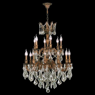Dodson Traditional 18-Light Chain Crystal Chandelier Crystal Color: Golden Teak
