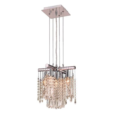 Nadia 5-Light Crystal Pendant Crystal Color: Gold Teak