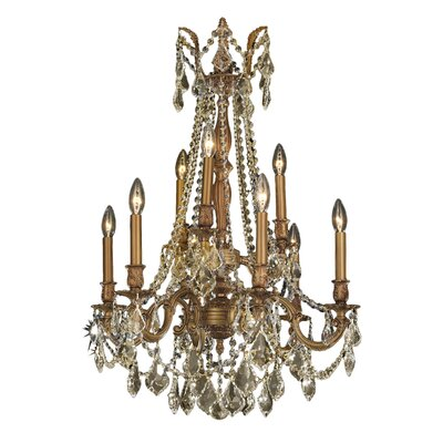 Windsor 9-Light Crystal Chandelier Crystal Color: Golden Teak