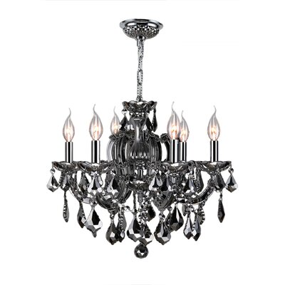 Roslyn 6-Light Crystal Chandelier Crystal Color: Smoke