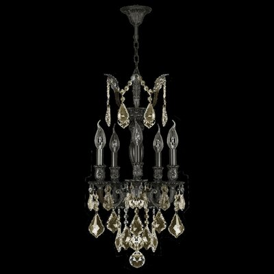 Versailles 5-Light Crystal Chandelier Finish: Flemish Brass