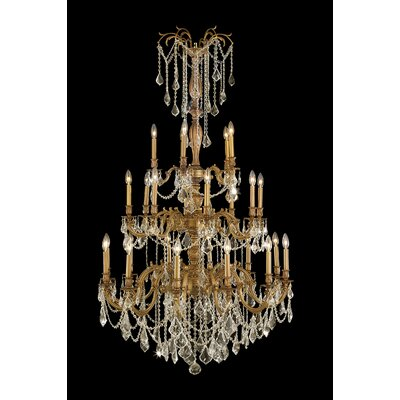 Windsor 25-Light Crystal Chandelier Crystal Color: Golden Teak, Finish: French Gold