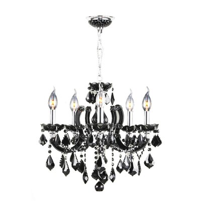 Catherine 8-Light Crystal Chandelier Color: Black