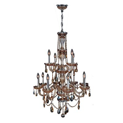 Doggett 12-Light Crystal Chandelier Finish: Amber