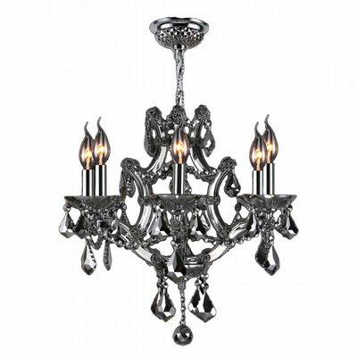 Lyre 6-Light Crystal Chandelier Crystal Color: Chrome