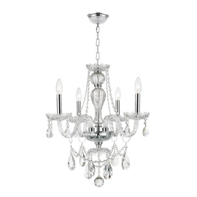 Pulaski 4-Light Crystal Chandelier Finish: Chrome