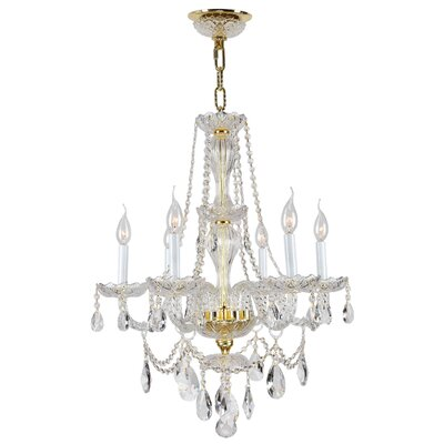 Olde World 6-Light Crystal Chandelier Finish: Gold