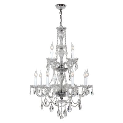 Provence 12-Light Crystal Chandelier Finish: Chrome