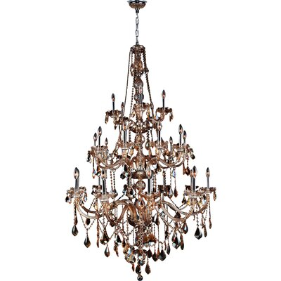 Doggett 25-Light Crystal Chandelier Crystal Color: Amber