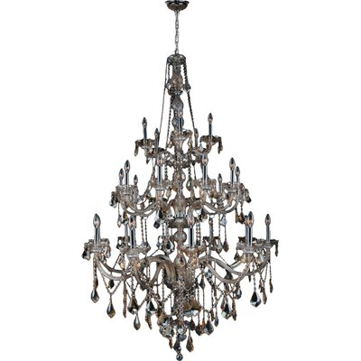Doggett 25-Light Crystal Chandelier Crystal Color: Golden Teak