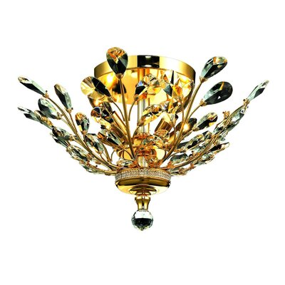 Aspen 4-Light Crystal Floral Semi Flush Mount