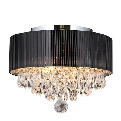 Carin Acrylic Crystal 3-Light Flush Mount Shade Color: Black