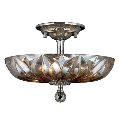 Mansfield 4-Light Semi-Flush Mount Crystal Color: Golden Teak