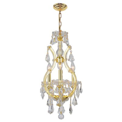 Kiazolu 4-Light Crystal Chandelier Finish: Gold