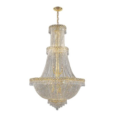 Carson 17-Light Crystal Chandelier Finish: Gold