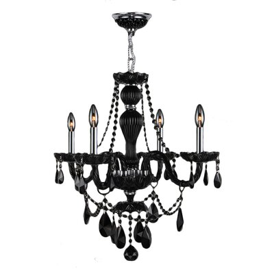 Provence 4-Light Crystal Chandelier Crystal Color: Black