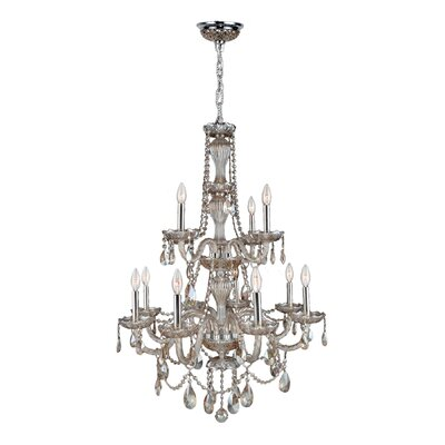Provence 12-Light Crystal Chandelier Crystal Color: Golden Teak