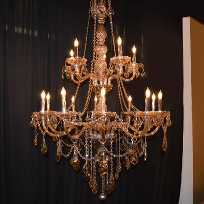 Doggett Traditional 15-Light Crystal Chandelier Crystal Color: Amber
