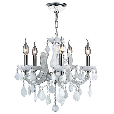 Roslyn 5-Light Crystal Chandelier Crystal Color: White