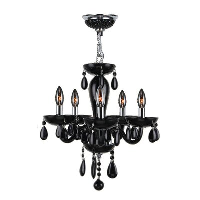Roni 5-Light Crystal Chandelier Glass Color: Black
