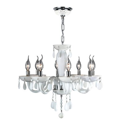 Roni 8-Light Candle-Style Chandelier Glass Color: White