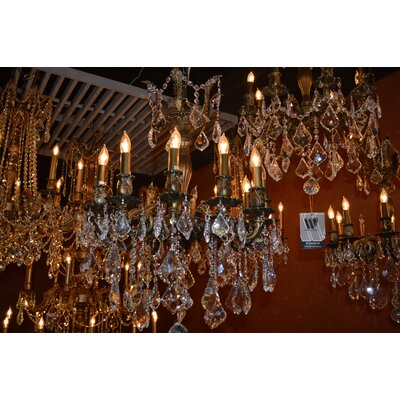 Dodson Traditional 12-Light 60W Crystal Chandelier Size: 27 H x 24 W, Finish: Golden Teak