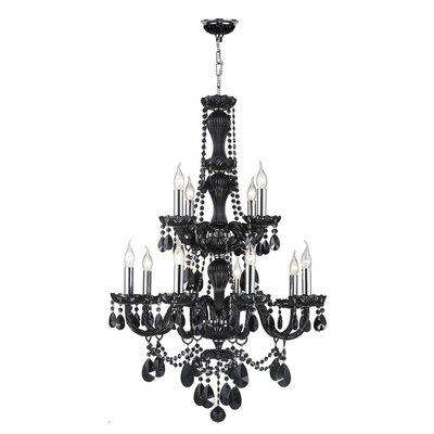 Doggett Traditional 12-Light Crystal Chandelier Crystal Color: Black