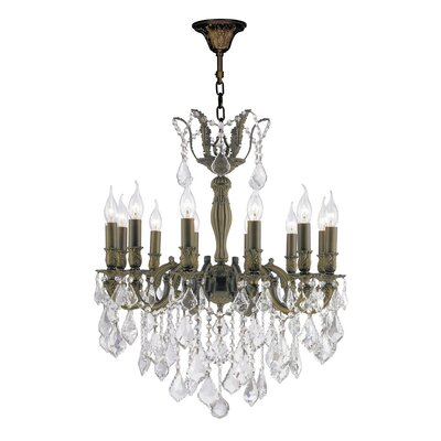 Versailles 12-Light Crystal Chandelier Size: 27 H x 24 W, Finish: Antique Bronze