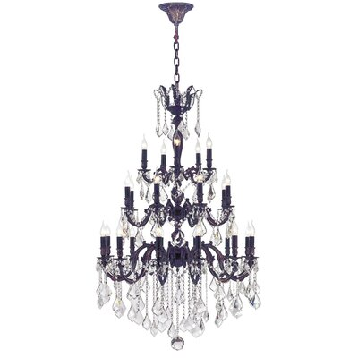 Dodson 25-Light Crystal Chandelier Finish: Flemish Brass