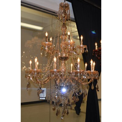 Doggett Traditional 15-Light Crystal Chandelier Crystal Color: Golden Teak