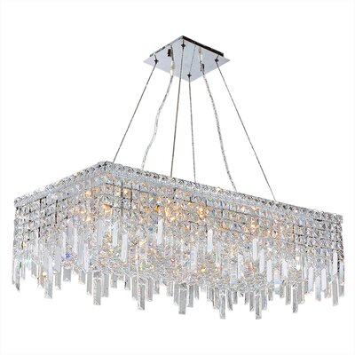 Anjali 16-Light Crystal Chandelier Size: 10.5 H x 32 W x 16 D