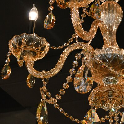 Provence 6-Light Crystal Chandelier Crystal Color: Amber