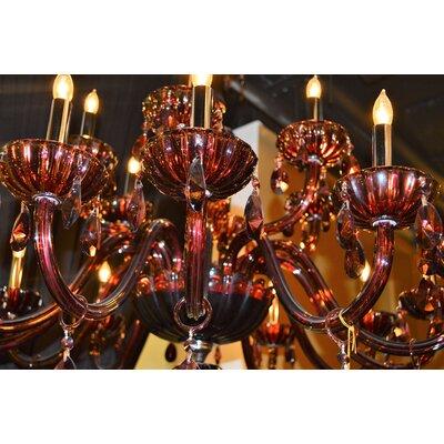 Carnivale 18-Light Crystal Chandelier Crystal Color: Cranberry
