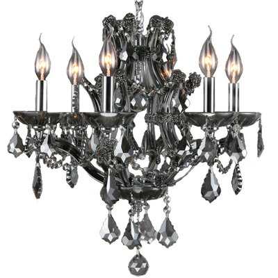 Zhora 6-Light Chain Crystal Chandelier Crystal Color: Smoke