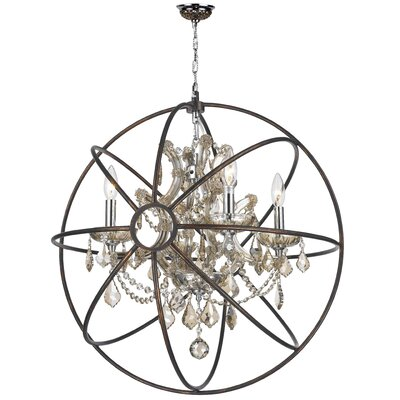 Armillary 4-Light LED Globe Pendant Crystal: Golden Teak Crystal