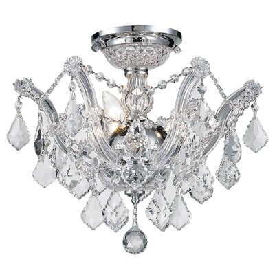 Regan 3-Light Flush Mount Crystal Color: Clear